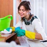 Kobiety okurzanie z cleanser zdjęcie royalty free