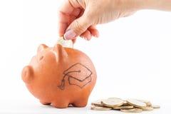 Kobiety oszczędzania pieniądze w tradycyjnego glinianego prosiątko b Zdjęcie Royalty Free