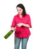 Kobiety otwarcia wino Obraz Stock