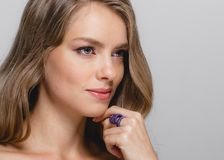Kobiety piękna twarz Piękna blondynki kobiety piękna modela dziewczyna z Fotografia Royalty Free
