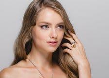 Kobiety piękna twarz Piękna blondynki kobiety piękna modela dziewczyna z Obrazy Stock