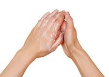 kobiety piankowy ręk mydło obrazy stock