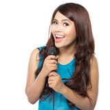 Kobiety śpiewacki karaoke Fotografia Royalty Free
