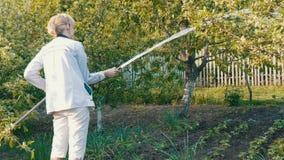 Kobiety podlewanie od węża elastycznego roślina w jej swój ogród zdjęcie wideo