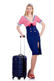 Kobiety podróży posługacz z walizką Fotografia Royalty Free