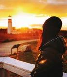 Kobiety postać Górskim światłem fotografia stock