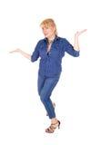 Kobiety pozycja gestykuluje z rękami Zdjęcie Stock