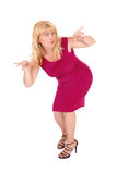 Kobiety pozycja gestykuluje z rękami Fotografia Stock