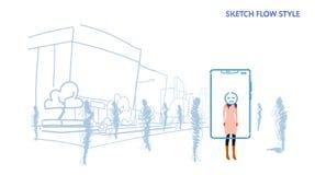 Kobiety pozycja od za tłum sylwetek ludziach używać mobilny zastosowanie męczącą maskową twarzy smartphone ekranu miasta ulicę royalty ilustracja