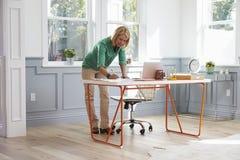 Kobiety pozycja Przy biurkiem Pracuje Przy laptopem W ministerstwie spraw wewnętrznych Obraz Royalty Free
