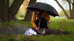 Kobiety próba robić ogieniowi pod deszczem w wietrznym jesień parku zbiory