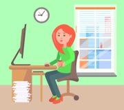 Kobiety Pracująca Biurowa Dzienna Wektorowa ilustracja ilustracji