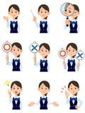 Kobiety pracujące 9 rodzajów gesty i wyrazy twarzy royalty ilustracja