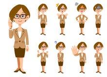Kobiety pracujące z eyeglasses 9 wyrazów twarzy i gesty ilustracji