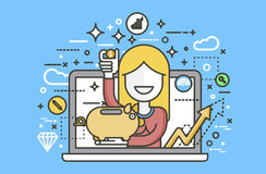 Kobiety prosiątka bank w rękach dla pieniężnej edukaci, bankowość, depozytowego oszczędzanie rabata online promocyjny marketing Obrazy Stock