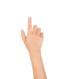 Kobiety ręka dotyka wirtualnego ekran odizolowywającego obraz royalty free