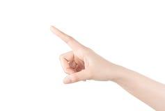 Kobiety ręka dotyka wirtualnego ekran. Odizolowywający na bielu. Zdjęcie Stock