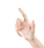 Kobiety ręka dotyka wirtualnego ekran. Odizolowywający na bielu. Zdjęcia Stock