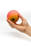 Kobiety ręka trzyma świeżego czerwonego jabłka na bielu Zdjęcia Stock