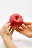 Kobiety ręka trzyma świeżego czerwonego jabłka na bielu Obrazy Stock