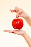Kobiety ręka trzyma wyśmienicie czerwonego jabłka Obraz Stock