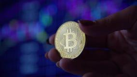 Kobiety ręka trzyma złocistej monety bitcoin zbiory wideo