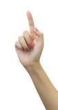 Kobiety ręka wskazuje up z palcem wskazującym lub odciskanie guzikiem Obrazy Royalty Free