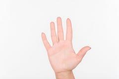 Kobiety ręka Z Polskimi gwoździa przedstawienia Pięć palcami Biały bakcground Ręka Zdjęcia Stock