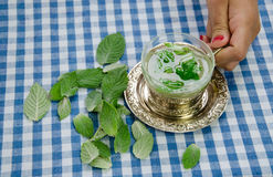 Kobiety ręki chwyta filiżanka z uzdrawiać relaksującej nowej herbaty Fotografia Royalty Free