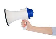 Kobiety ręki chwyta głośnik Obrazy Royalty Free