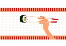 Kobiety ręki chwyty chopsticks mak suszi ilustracja wektor