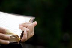 Kobiety ręki czytanie i mienie książka Fotografia Royalty Free