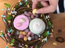 Kobiety ręki dojechanie dla mini Wielkanocnego jajka w górę wysokiego kąta widoku, zdjęcia royalty free