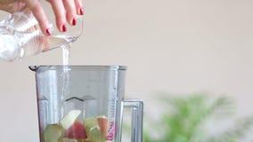 Kobiety ręki dolewania woda w blender z owoc zdjęcie wideo