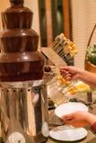 Kobiety ręki maczania owoc czekolady wierza zdjęcie stock
