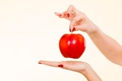 Kobiety ręki mienia czerwony jabłko, zdrowy karmowy pojęcie Obrazy Stock