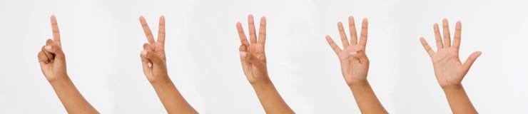 Kobiety ręki przedstawienia palce Palców punkty zamknięci up na białym tle Odbitkowy spase zdjęcie stock