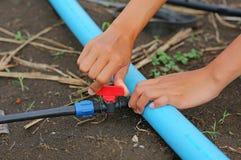 Kobiety ręki skręta Czerwonej wody klapa Fotografia Stock