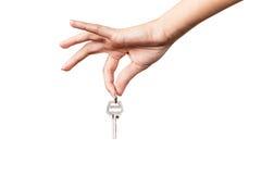 Kobiety ręka daje kluczom Zdjęcia Stock