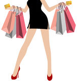 Kobiety ręka W Czarnych Mini sukniach Z Wiele Kolorowy torba na zakupy Fotografia Stock