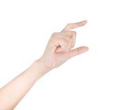 Kobiety ręki chwyta wirtualna wizytówka, kredytowa karta lub pustego miejsca isol, Obraz Stock