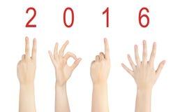 Kobiety ręki gest 2016 Obrazy Royalty Free