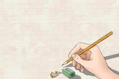 Kobiety ręki rysunek na papierze Zdjęcia Stock