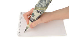 Kobiety ręki writing na papierze Obrazy Stock