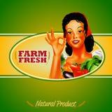 Kobiety ramy gospodarstwa rolnego warzyw naturalnego produktu zieleń Ilustracja Wektor