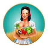 Kobiety ramy gospodarstwa rolnego warzywa Ilustracji
