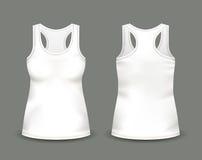 Kobiety ` s biały sleeveless podkoszulek bez rękawów w przodzie i tylnych widokach Wektorowa ilustracja z realistycznym męskim ko Obrazy Stock