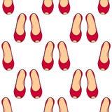 Kobiety ` s buty bez pięt czerwonych royalty ilustracja
