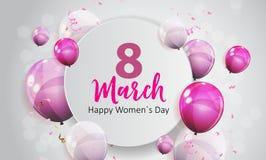 Kobiety ` s dnia kartka z pozdrowieniami 8 Marcowa Wektorowa ilustracja ilustracja wektor