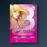 Kobiety ` s dnia przyjęcia ulotki ilustracja z Seksowną Blondie dziewczyną i 8 Marcowa typografia na Różowym tle international ilustracji